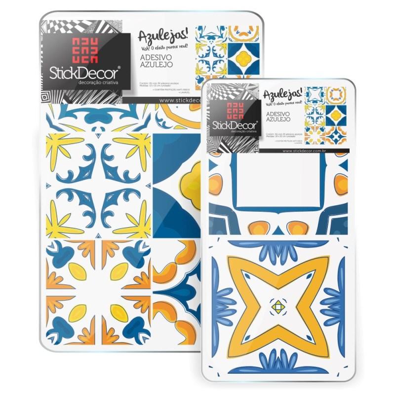 KIT de Adesivo Azulejo Azul e Amarelo