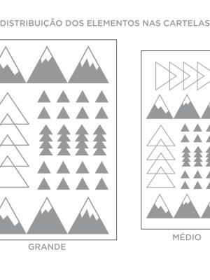 Kit de Adesivos de Parede Montanhas com Geométrico
