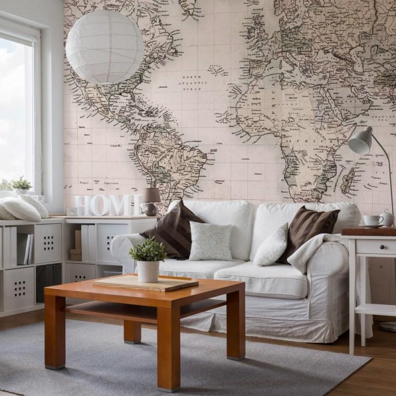 Painel Fotográfico Vintage Mapa Mundi