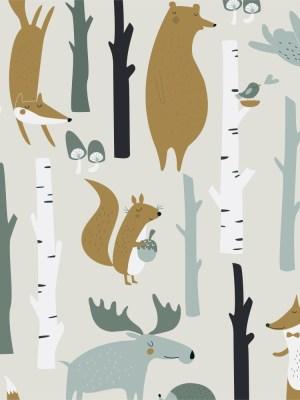 Papel de Parede Adesivo Animais na Floresta