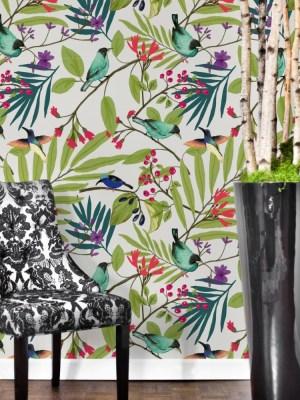 Papel de Parede Adesivo Floral Folhagem Passarinhos