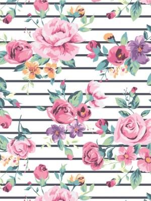 Papel de Parede Adesivo Floral Rosas Listrado