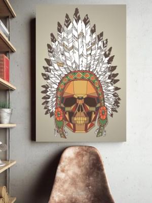 Placa Decorativa Caveira Indio