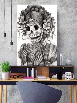 Placa Decorativa Caveira Love