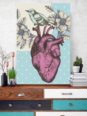 Placa Decorativa Coração Passarinho