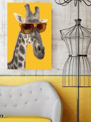 Placa Decorativa Girafa Hipster