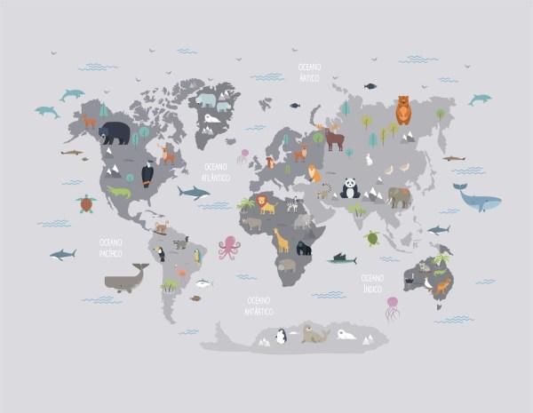 Painel Fotográfico Mapa Mundi Infantil Cinza