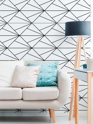 Papel de Parede Adesivo Geométrico de Linhas Diagonal