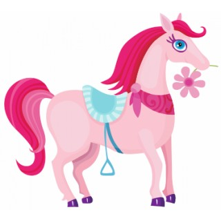 Sticker fille princesse Cheval