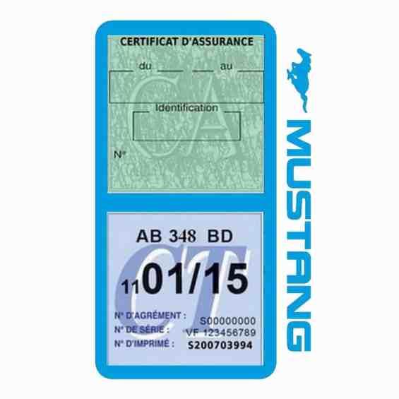 Double porte vignette assurance Ford Mustang bleu clair