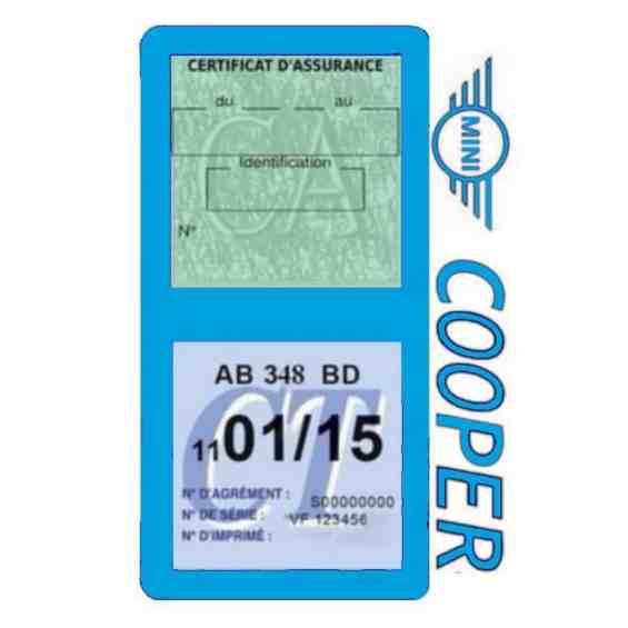 Porte assurance Mini Cooper double vignette bleu clair