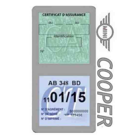 Porte assurance Mini Cooper double vignette gris