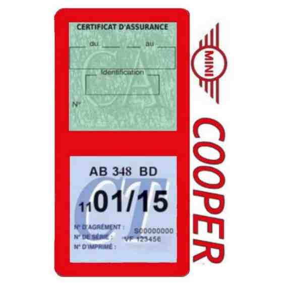 Porte assurance Mini Cooper double vignette rouge