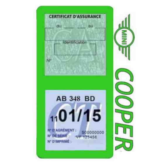 Porte assurance Mini Cooper double vignette vert clair