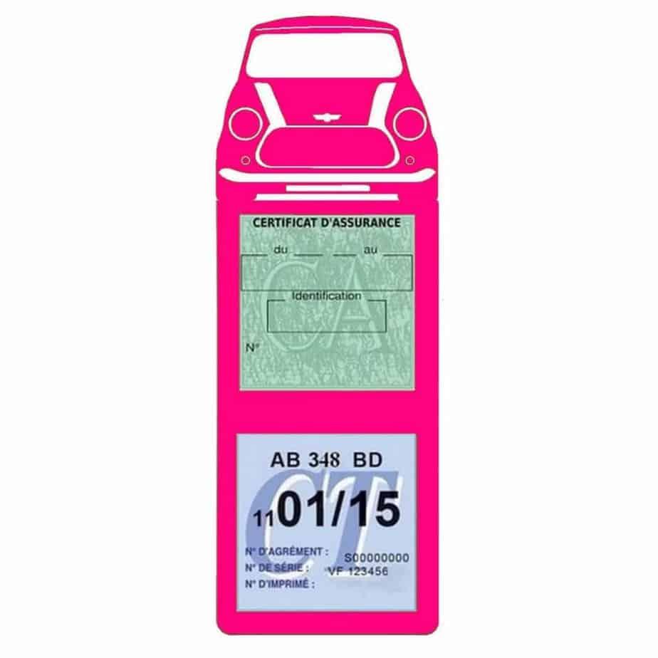Mini Cooper BMW étui assurance auto méga rose