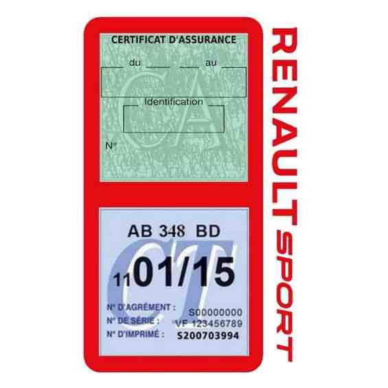 Etui double vignette assurance voiture Renault Sport RS rouge