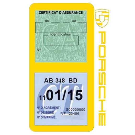 Etui Porsche double vignette assurance jaune