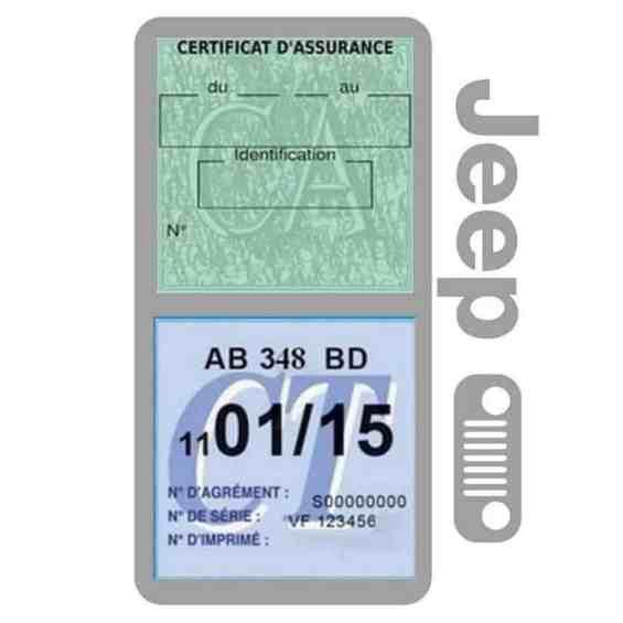 Porte assurance JEEP Calandre gris double étui pochette voiture