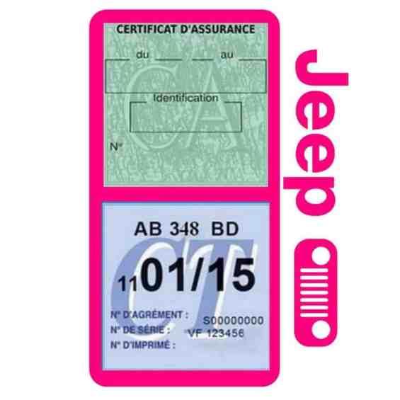 Porte assurance JEEP Calandre rose double étui pochette voiture