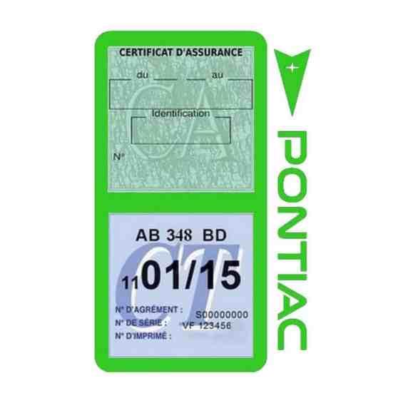 PONTIAC étui vignette assurance voiture vert clair