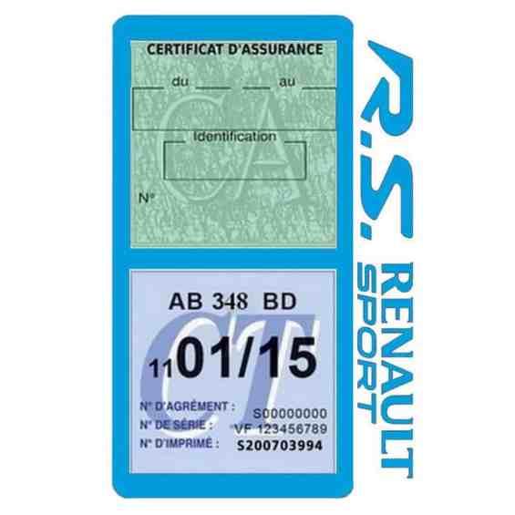 R.S Renault Sport Vignette assurance voiture bleu clair