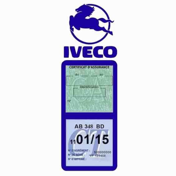 IVECO Vignette Assurance Poids Lourds bleu foncé