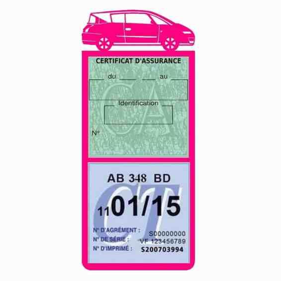 AVANTIME RENAULT Etui assurance voiture méga pochette rose