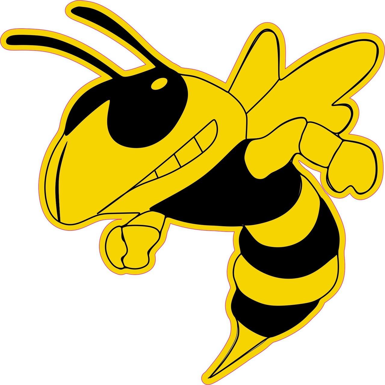 6in X 6in Left Facing Yellow Black Hornet Bee Mascot