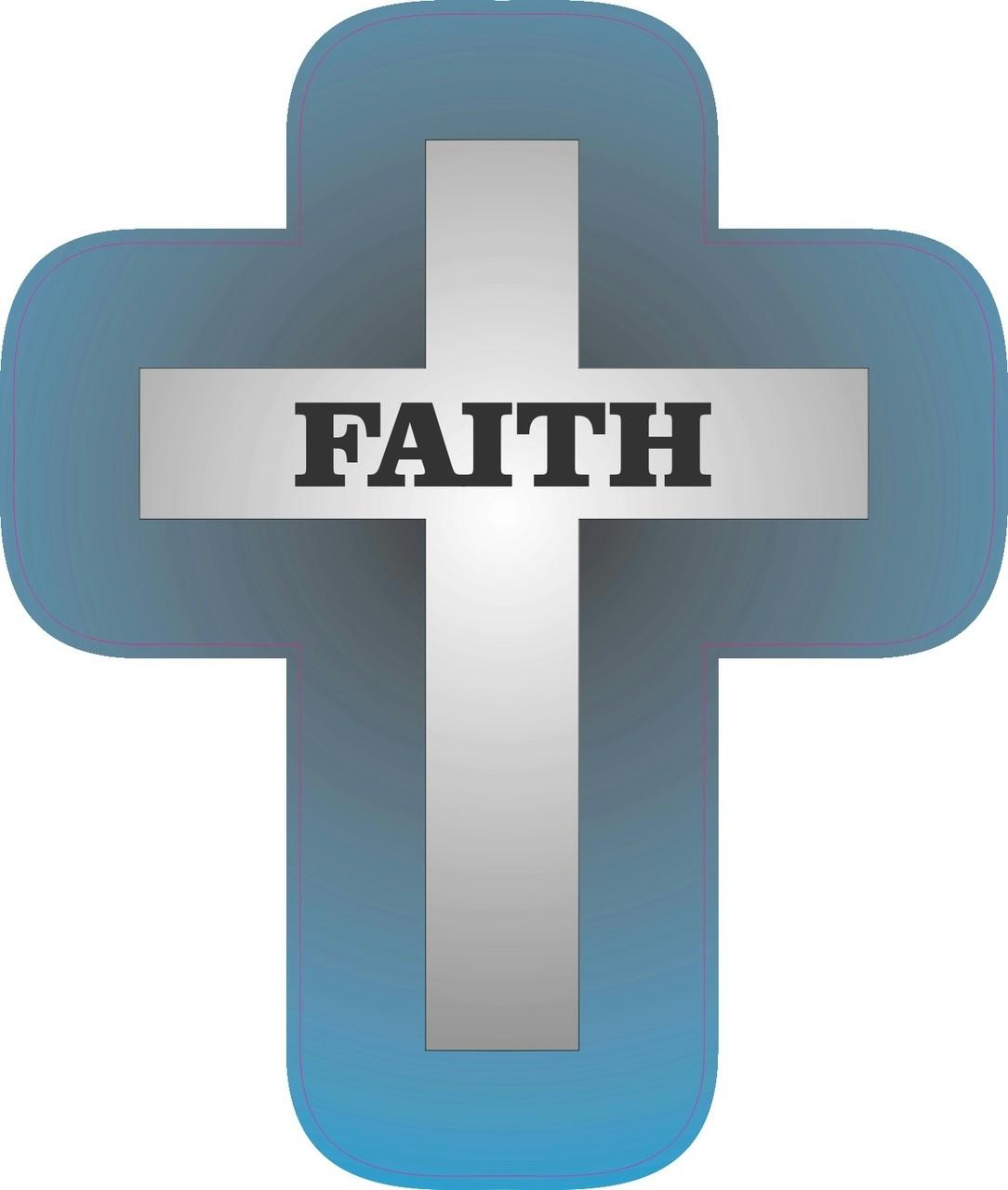 425in X 525in Die Cut Blue Cross Sticker Vinyl Religious Bumper