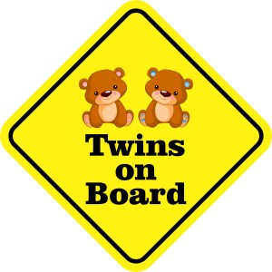 Boy Girl Twins on Board Magnet