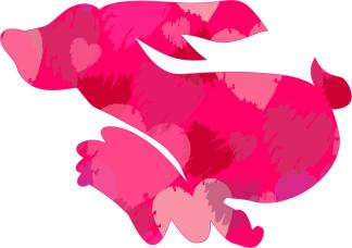 Running Pink Rabbit Car Decals