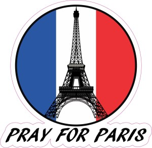Pray for Paris die cut bumper decal