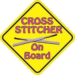 Cross Stitcher On Board Sticker