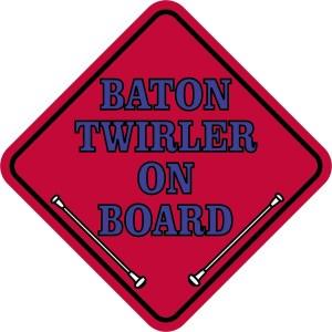 Red Blue Baton Twirler on Board Sticker