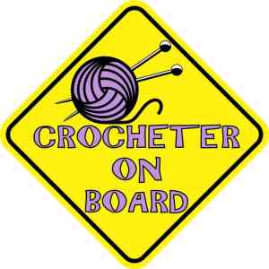 Purple Crocheter on Board Magnet