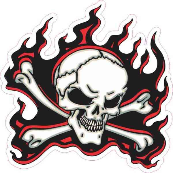 red flame skull bumper sticker
