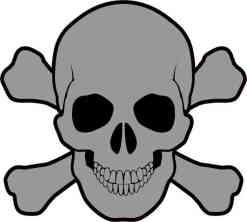 gray skull and cross bones bumper sticker