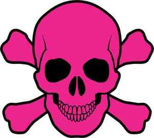pink skull and cross bones bumper sticker