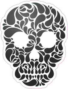 Black and White Swirl Skull Bumper Sticker