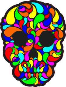 multi-color swirl skull bumper sticker