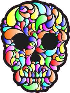 faded multi-color swirl skull bumper sticker