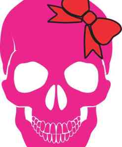 Pink with Red Bow Skull Bumper Sticker