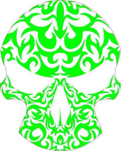 green and white tribal skull bumper sticker