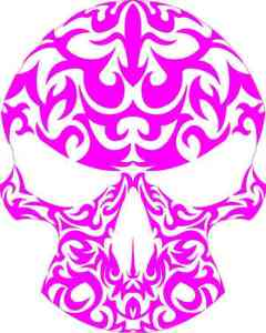 pink and white skull bumper sticker