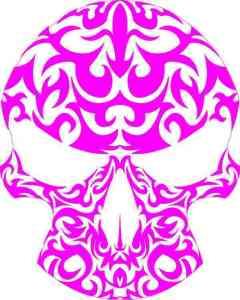 pink and white skull bumper sticker