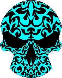 cyan tribal skull bumper sticker
