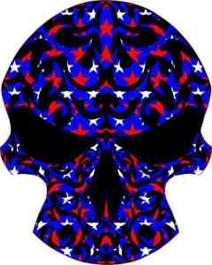 Patriotic tribal skull bumper sticker