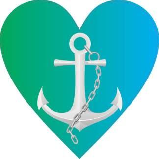 Green and Blue Anchor Heart bumper sticker