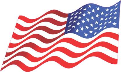 Mirrored Waving American Flag sticker