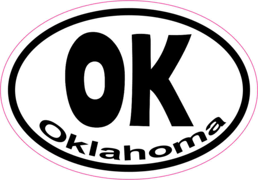 3in x 2in Oval OK Oklahoma Sticker Vinyl Car Window State
